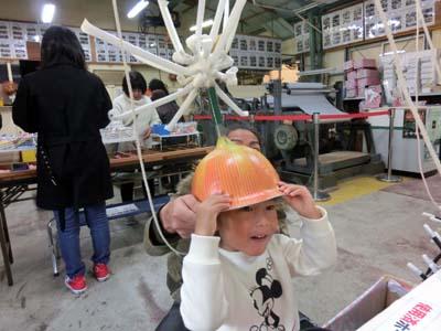 玉ねぎのヘルメット! とっても似合ってます。